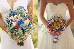 Ramo de novia de la derecha multicolor Ramos de novia flores silvestres