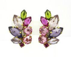 Vintage Pink Purple Rhinestone Earrings Gold by LeesVintageJewels