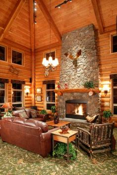 like the vaulted ceiling and rock fire place