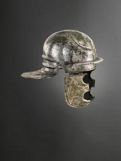 Roman bronze helmet, of the Weisenau legionary type with tinned exterior, 1st century CE