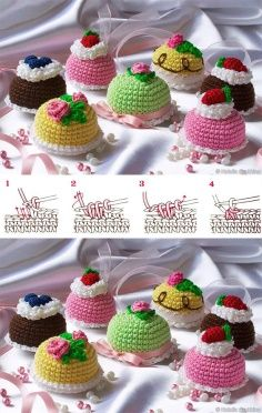 How to knit puff stitch video tutorial Kawaii Crochet, Cute Crochet, Crochet Motif, Crochet Stitches, Food Patterns, Doily Patterns, Easy Crochet Patterns, Crochet Cake, Crochet Food