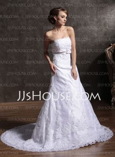 Wedding Dresses - $142.79 - A-Line/Princess Strapless Court Train Satin Tulle Wedding Dresses With Lace Beadwork (002012149) http://jjshouse.com/A-line-Princess-Strapless-Court-Train-Satin-Tulle-Wedding-Dresses-With-Lace-Beadwork-002012149-g12149