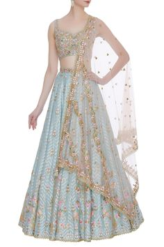 Buy Mirror work & gota embroidered lehenga set by Tamanna Punjabi Kapoor at Aza Fashions Indian Gowns Dresses, Indian Fashion Dresses, Dress Indian Style, Indian Designer Outfits, Indian Lehenga, Lehenga Choli, Punjabi Lehenga, Blue Lehenga, Sarees
