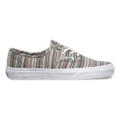 The Textile Stripes Authentic combines the original and now iconic Vans low top style with an allover stripe print, textile uppers, metal eyelets, and signature rubber waffle outsoles.