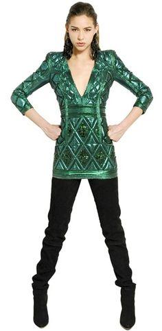 2014 green fashion | Anna Dello Russo in Balmain Dress | 2014 Street Style