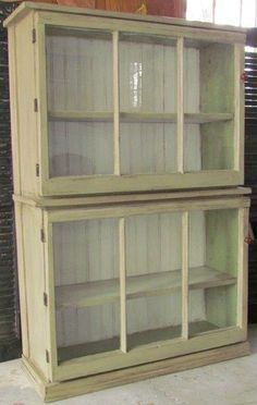 Salvaged Windows - used as the doors on a beautiful cabinet + Storage Ideas, Made From Salvaged Materials - By Your Hands
