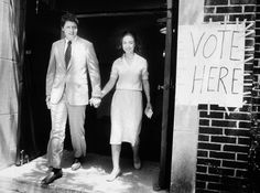 Bill and Hillary Clinton leaving the polls, 1982
