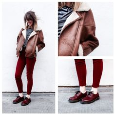 Stripes and Shearling. #ootd #asos #asseenonme #shearling #jacket > http://asos.do/IT4Kqy #stripe #tee > http://asos.do/IffQNU #red #trousers > http://asos.do/ES6zCp #dms > http://asos.do/y29gpK