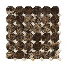 Emperador Dark Marble Polished Octagon Mosaic Tile w/ Crema Marfil Dots