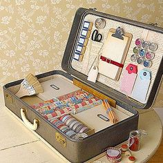 How cool is this..fill a vintage suitcase with card making supplies...cool