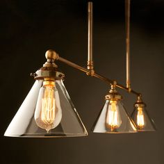 Vintage Edison Billiards Table Light with three lampholders with a range of shade options.