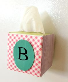 make a washi covered magnetic tissue box