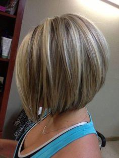 brown hair with lowlights , short bob lowlights ,