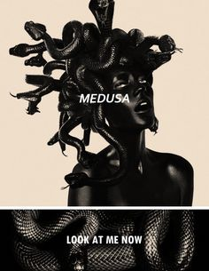 """In Greek mythology Medusa was a Gorgon, a chthonic female monster & a daughter of Phorcys & Ceto. In a late version of the Medusa myth, related by the Roman poet Ovid, Medusa was originally a beautiful maiden, """"the jealous aspiration of many suitors"""" & priestess in Athena's temple. But because Poseidon raped her in Athena's temple, the enraged Athena transformed Medusa's beautiful hair to serpents & made her face so terrible to behold that the mere sight of it would turn men to stone. #myth"""