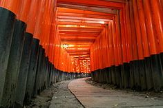 Torii leading to Fushimi Inari Taisha (伏見稲荷大社), the head shrine of Inari, located in Fushimi-ku, Kyoto, Japan. The shrine sits at the base of a mountain also named Inari which is 233 metres above sea-level, and includes trails up the mountain to many smaller shrines.