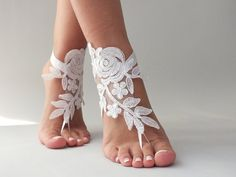 Barefoot sandal, white or ivory  barefoot sandles, Lace shoes,  barefoot sandal, Beach wedding, Destination wedding, Bridal Footless shoes                                                                                                                                                                                 More