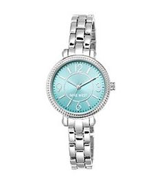 Nine West® Slim Silvertone Bracelet with Teal Dial Watch