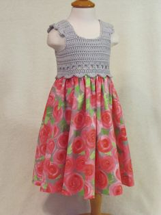 Click on the link for more beautiful dresses! Baby dress with crochet bodice silver and coral by FeathersnFrocks