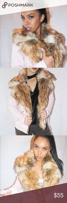 Sexy pu leather faux fur coat in pastel pink Beautiful coat! Pastel Pink literally goes with all colors! Fur collar and fur lines the front inside part of the coat to give it a little extra. You are sure to stay warm while getting many compliments Jackets & Coats