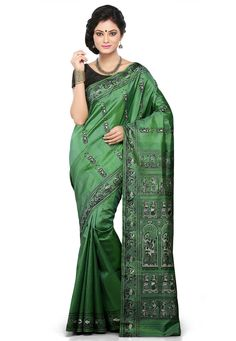 Buy Light Green Pure Baluchari Silk Handloom Saree with Blouse online, work: Hand Woven, color: Light Green, usage: Wedding, category: Sarees, fabric: Silk, price: $257.78, item code: SQGA34, gender: women, brand: Utsav