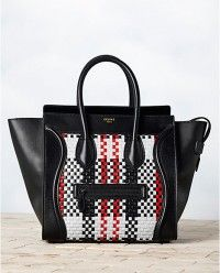 f5ebbe185c62 Celine Checkered Woven Mini Luggage Tote Best Handbags