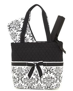 e4571279ed Dilly Dally - Quilted Diaper Tote Bag - black white - Damask