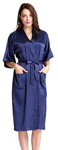 Aibrou Femmes satinée peignoir longue long robe Chemise de nuit chambre kimono coquet et féminin nuisette confortable Satin un goût Japon:…