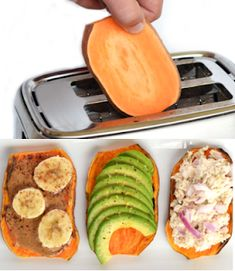 Slice a sweet potato and toast - topping of your choice- healthy snack DIY Home Sweet Home: 50 Random Tips Everyone Should Know Fast Metabolism Diet, Metabolic Diet, Healthy Snacks, Healthy Eating, Lunch Snacks, Cooking Tips, Cooking Recipes, Sweet Potato Slices, Get Thin