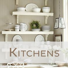 Kitchen with white open shelving