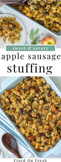 Apple Sausage Stuffing is an easy homemade stuffing recipe that you can make ahead and enjoy the next day. This will become your favorite fall and Thanksgiving recipe in no time! sausage recipe Sourdough Apple Sausage Stuffing - Fixed on Fresh Classic Stuffing Recipe, Side Dish Recipes, Side Dishes, Apple Sausage Stuffing, Homemade Stuffing With Sausage, Turkey Sausage, Stuffing Recipes For Thanksgiving, Thanksgiving Menu, Fresh