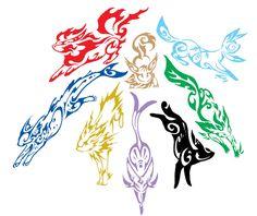 This is eight of the eevee evolutions (eeveelutions) Pokemon Tattoo, Pokemon Fan Art, Tribal Pokemon, Gif Pokemon, Mega Pokemon, Arte Tribal, Tribal Art, Pokemon Fusion, Pokemon Legal