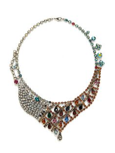 Tom Binns Multi Color Crystal Curvy Bib Necklace