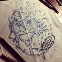 ⚓️Capn' STU. Another fun piece to start tomorrow. ⚓️#tattoo #tattoos #buffalo #716 #customtattoo #losangeles #ladytattooers #neotraditional #cattoo #cattattoo #captaincat #girlswithtattoos #pettattoos #personafied #meow #catlady #theopensea #nofucksgiven #letitburn  (at the unicorn )