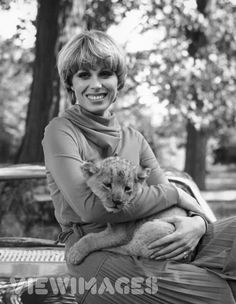October English actress Joanna Lumley, star of ITV's The New Avengers, at Pinewood Studios with six-week-old lion cub Sultan (Photo: Mike Stephens/Central Press) Joanna Lumley, Srinagar, Diana Riggs, 1970s Hairstyles, Vintage Hairstyles, Ab Fab, Cubs Fan, New Avengers, Page Boy