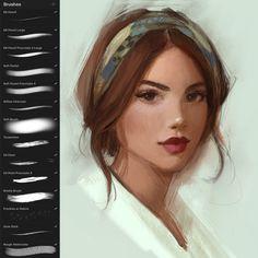 Procreate App Brushes by GabrielleBrickey on DeviantArt Digital Painting Tutorials, Digital Art Tutorial, Art Tutorials, Digital Paintings, Drawing Tutorials, Drawing Tips, Digital Art Girl, Digital Portrait, Digital Art Beginner