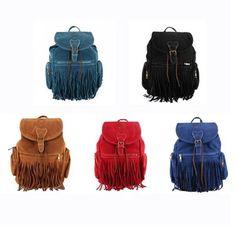 Retro Women Girls Faux Suede Backpack Travel Bag Fringe Shoulder Bag Satchel