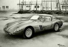 Ferrari 250 GTO - Desen în Creion de Corina Olosutean // Ferrari 250 GTO - Pencil Drawing by Corina Olosutean Gto, Motor Car, Pencil Drawings, Ferrari, Cars, Car, Automobile, Autos, Pencil Art