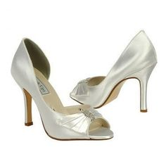 #Pretty!! Round open toe pumps with a pleated bow and rhinestone embellished center #dyeable <3 www.weddingworthy.com <3
