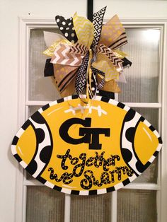 Georgia Tech Yellow Jackets Together We Swarm Football Door Hanger, Father's Day present, - Annabell Football Door Hangers, Baby Door Hangers, Georgia Tech Football, Pinterest Diy Crafts, Pumpkin Birthday Parties, Yellow Jackets, Man Cave Gifts, Fathers Day Presents, Bee Theme
