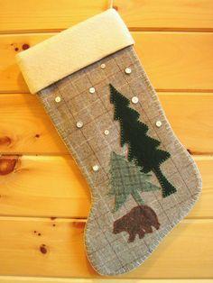 AwayUpNorth - Wool Christmas Stocking / Christmas Stocking / Large Stocking / Woodland Bear Stocking / Rustic Stocking / Cabin Stocking. $49.00, via Etsy.