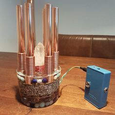[gallery] Introducing: the active orgone chembuster. I placed a big SP crystal in the middle of the chembuster to boost the energy field and amplify the met Laser Art, Neodymium Magnets, Alternative Energy, Herkimer Diamond, Things To Buy, Stones And Crystals, Light Bulb, Bronze, Handmade