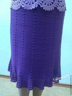 Юбки ручной работы. Ярмарка Мастеров - ручная работа. Купить Юбка крючком Фиолетовая. Handmade. Фиолетовый, одежда для женщин