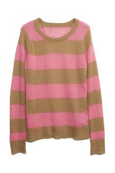#romwe Brief Pink-coffee Stripes Jumper  $41.99 #Romwe