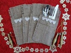 Hessian Cutlery Holders, set of 4. Heart trim and Coffee Sack Hessian £8.00