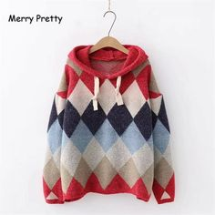 Women Plaid Knitted Hooded Sweatshirts Winter Long Sleeve Drawstring Thick Hoodies For Femme Hooded Pullovers Thick Hoodies, Cute Hoodie, Pretty Woman, Hooded Sweatshirts, Plaid, Pullover, Long Sleeve, Clothing, Color