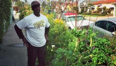"""Ron Finley: """"Growing your own food is like printing your own money. I raised my sons in South Central. I have a legacy here. I refuse to be a part of this reality that was manufactured by other people; I manufactured my own reality. I am an artist. Gardening is my graffiti. A graffiti artist beautifies walls; I beautify parkways and yards. I treat the garden as a piece of cloth and the plants and the trees are the embellishment of that cloth."""""""