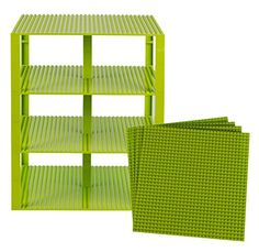 """Premium Lime Green Stackable Base Plates - 4 Pack 10"""" x 1..."""