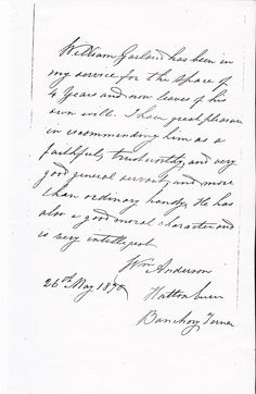 Letter of Recommendation written May 26, 1870 recommending William Garland for employment