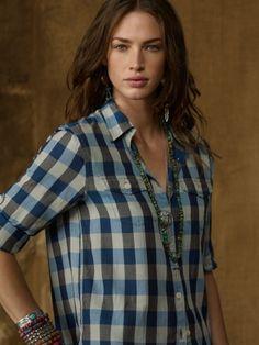 Slouchy Plaid Utility Shirt - Denim & Supply  Long-Sleeve - RalphLauren