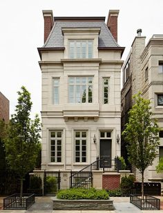 Great city townhouse style with a mansard roof, french roof, french home exterior, and dual chimneys. Villa Plan, Architecture Design, French Architecture, Beautiful Architecture, Mansard Roof, Casas Containers, My Dream Home, Dream Homes, Old Houses